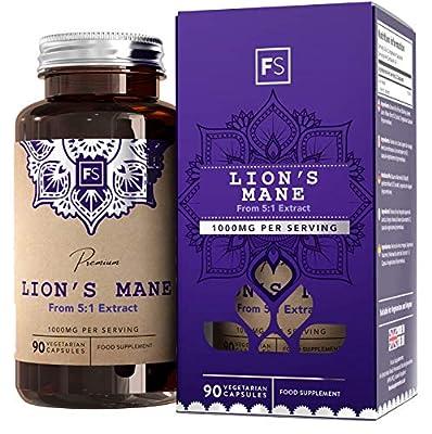 FS Lions Mane Mushroom Complex Supplement | 1000mg Lion's Mane Per Serving | 90 Vegan Capsules | High in (β) Beta Glucan Polysaccharides | Non GMO | Gluten, Dairy & Allergen Free | Made in The UK