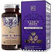 FS Lions Mane Mushroom Hochdosiert 1000mg pro Portion | Nootropics | 90 Vegan Tabletten | Keine Künstlichen Füllstoffe | Gluten und Allergen Frei | Hergestellt in ISO-Zertifizierten Betrieben