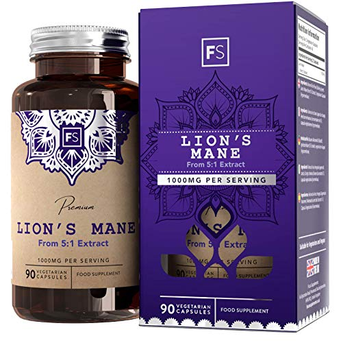 FS Lions Mane Mushroom Complex Supplement | 1000mg Lion's Mane Per Serving | 90 Vegan Capsules | High in (β) Beta Glucan Polysaccharides | Non GMO | Gluten, Dairy & Allergen Free | Made in The UK