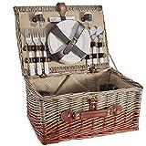 VonShef 4 Person Wicker Picnic Basket Set – Includes Flatware/Tableware Inc. Dinner Plates, Wine Glasses, Cotton...