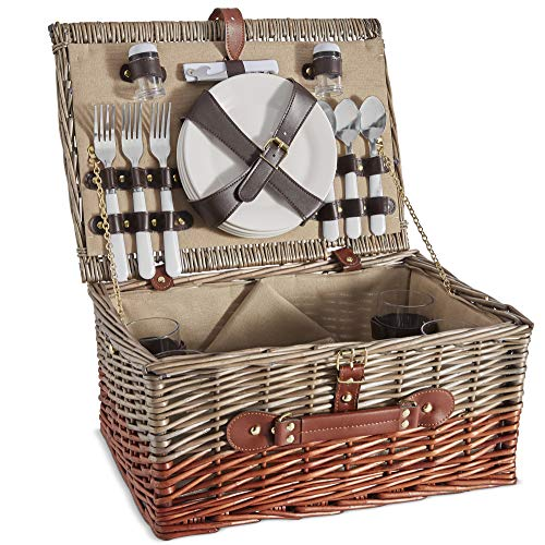 Learn More About VonShef 4 Person Wicker Picnic Basket Set – Includes Flatware/Tableware Inc. Dinn...