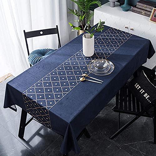 Mantel lavable decorativo para la casa, rectangular, resistente al agua, grueso y resistente al desgaste, para mesa infantil (140 x 260 cm), color azul
