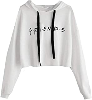 Womens Friends Hoodies,Crop Top Sweatshirt Athletic Hooded Pullover