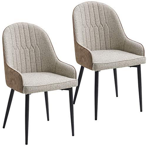Preisvergleich Produktbild Lestarain Esszimmerstühle 2er Set Wohnzimmerstuhl Gestell aus Metallbeine Küchenstuhl Sitzfläche aus Leinen Beige