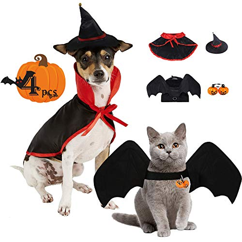 TFTSR Halloween Dogs and Cats Costumes, Funny Prank Costume, Vampire Cloak and Witch Hats, Bat Wings with Pumpkin Bells, for Medium & Large Pet, 4pcs