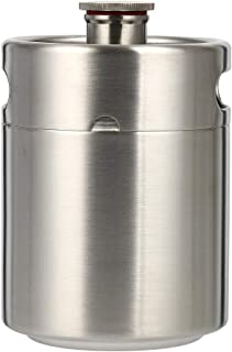 Beer Barrel Mini Keg Style Growler Stainless Steel Beer Supplies Holds Beer Double Handles for Home Camping Picnic (5.0L)