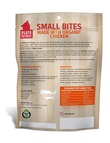 PLATO, Pet Treats, Small Bites Dog Training Treats, Air-Dried in USA, Organic Chicken, 10.5oz.