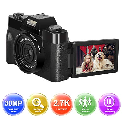 Camara de Fotos Cámara Digital Full HD 1080P 30.0MP Camara Fotos Youtube Pantalla Plegable de 3.0 Pulgadas Zoom Digital 16X con Lente Gran Angular Camara Compacta