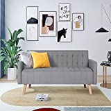 52' Loveseat Sofa, Small Modern Striped Loveseats Couch, Linen Upholstery Love Seat 2-Seat Sofa Couch with Wood Legs for Small Space Configuration Bedroom, Office, Apartment, Dorm and Studio, Grey