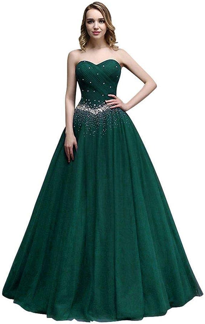 Kaidun Damen Lange Tuell Abendkleid Ballkleid Party Kleider Grun 40 Amazon De Bekleidung