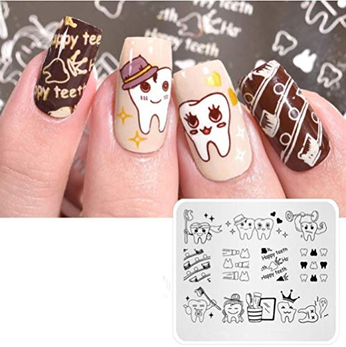 Brossez vos dents Nail Art Stamping Plate Image Template Manucure Stencil for Nail Stamping