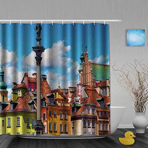 FAKAINU Duschvorhang,Szenische Sommerburg-Burgplatz-alte Altstadt der Sigismundsäule im Warschauer Polen,mit 12 Ringen Waschbar Langhaltig Hochwertig,180 * 180CM