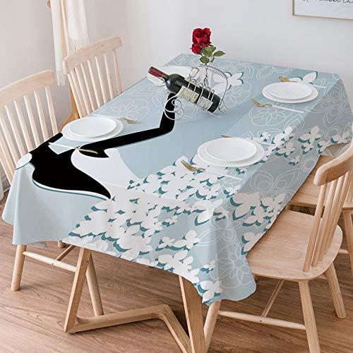 Mantel de Mesa Rectangular Antimanchas, Cubierta de Mesa Algodón y lino Impermeable...