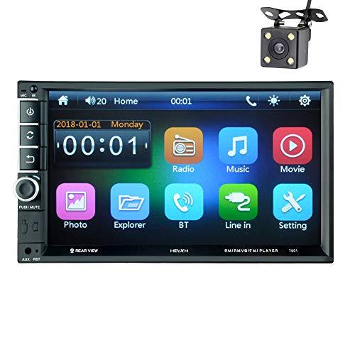 LWTOP Voiture stéréo Double DIN, 7 Pouces écran Tactile dans Dash Voiture Radio récepteur Audio Lecteur vidéo Prend en Charge Bluetooth/TF/USB/AUX,7901withoutcamera