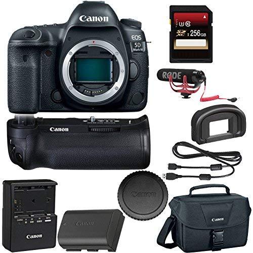 Câmera Canon EOS 5D Mark IV DSLR + Canon BGE20 Grip + cartão SDXC de 256 GB + Rode VideoMic GO + Mais