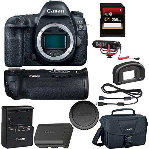 Canon EOS 5D Mark IV DSLR Camera + Canon BGE20 Grip + 256GB SDXC Card + Rode VideoMic GO + More