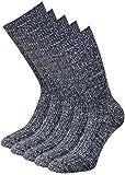 kb-Socken - Wollsocken ohne Gummi Wintersocken Herren Damen warme Wollsocken mit Plüschsohle graumeliert 5 Paar (43-46, 5 Paar Anthrazit)