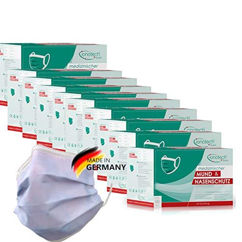 ionotech medizinischer Mund & Nasenschutz Typ IIR, 500 Masken in 10 Packungen, Set, Multipack, Made in Germany, Zertifiziert nach DIN 14683, CE, BFE > 99% (Blau)