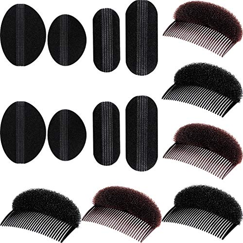 Bump It Up Volume Hair Base Set Styling Insert Braid Tool Hair Bump Up Comb Clip Sponge Bun Hair Pad Accessories for Women Girls DIY Hairstyle (14 Pieces)