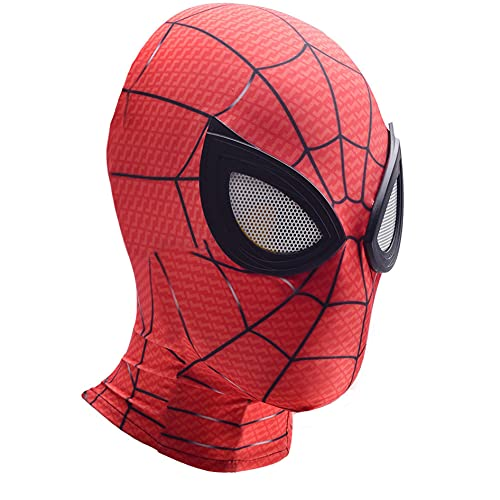 Spiderman Face Mask Kids 3D Cosplay Lycra Spandex Hjälm Halloween Stage Performance Tillbehör Rekommenderar långt hemifrån Andningsbara huvudbonader,Red-Adults Average Size