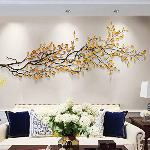 LHKAVE Décorations Intérieur Accessoire Décoratif Mural Ornement Arbre en Métal Argent Fleur en métal - Plaque géométrique,120 * 50cm