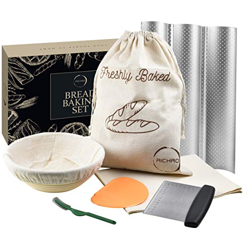 7 Piece Bread Baking Kit Gift Set - 9' Banneton Proofing Basket - 3 Baguette Baking Pan - Bread Bag - Bread Lame - Flax Linen Couche - Dough Scraper - Dough Cutter - Bread Making Tools and Supplies