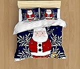 SAIAOS Funda nórdica,Navidad Santa Claus con Regalos afuera en la Nieve.Suave Dormitorio de Hotel Lujo Juego de Cama de 3 Piezas con 2 Fundas de Almohada