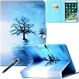 Universal Case for 9-10.5 Inch Tablet, Newshine PU Leather Stand Folio Case for New iPad 9.7 2017/2018, Galaxy Tab S2/S3 9.7, Amazon Kindle Fire HD 10 and Other 9.7 10.1 10.5 Models - Blue Tree