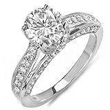 DazzlingRock Anillo de compromiso solitario de oro blanco de 14 quilates con diamantes redondos para mujer (1,50 quilates, color H-I, claridad I1) centro no incluido