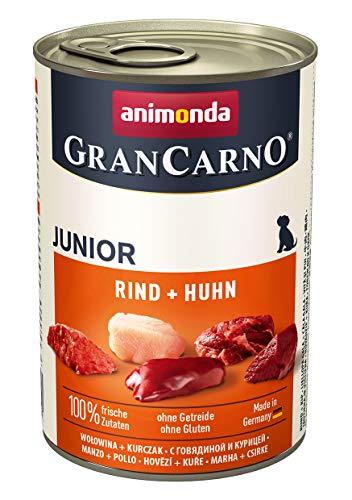 animonda GranCarno Hundefutter Junior, Nassfutter für Hunde im Wachstum, Rind + Huhn, 6 x 400 g