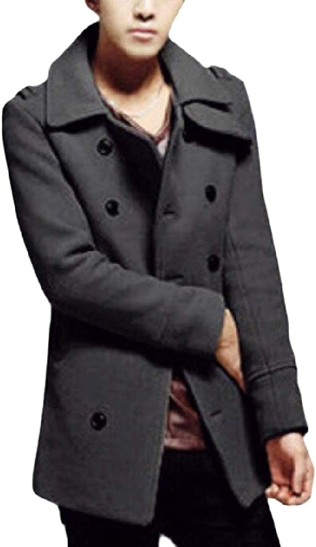 Jofemuho Men Slim Fit Double-Breasted Classic Wool Blend Pea Coats Trench Coat