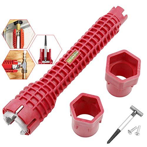 OrangeClub Spülenschlüssel Armaturenschlüssel Multifunktions Wasserhahn Waschbecken Installer Schlüssel Sanitär Werkzeug für Toilettenschüssel Waschbecken Badezimmer Küche Sanitärbau und mehr.