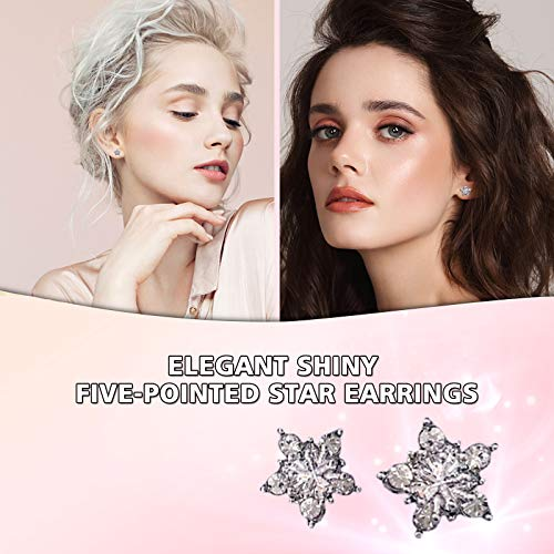 Janly Clearance Sale Women Earrings , Snowflake Pair/Set Of 925 Sterling Silver Ladies Jewelry Earrings , Valentine's Day Birthday Jewelry Gifts for Ladies Girls (Multicolor)