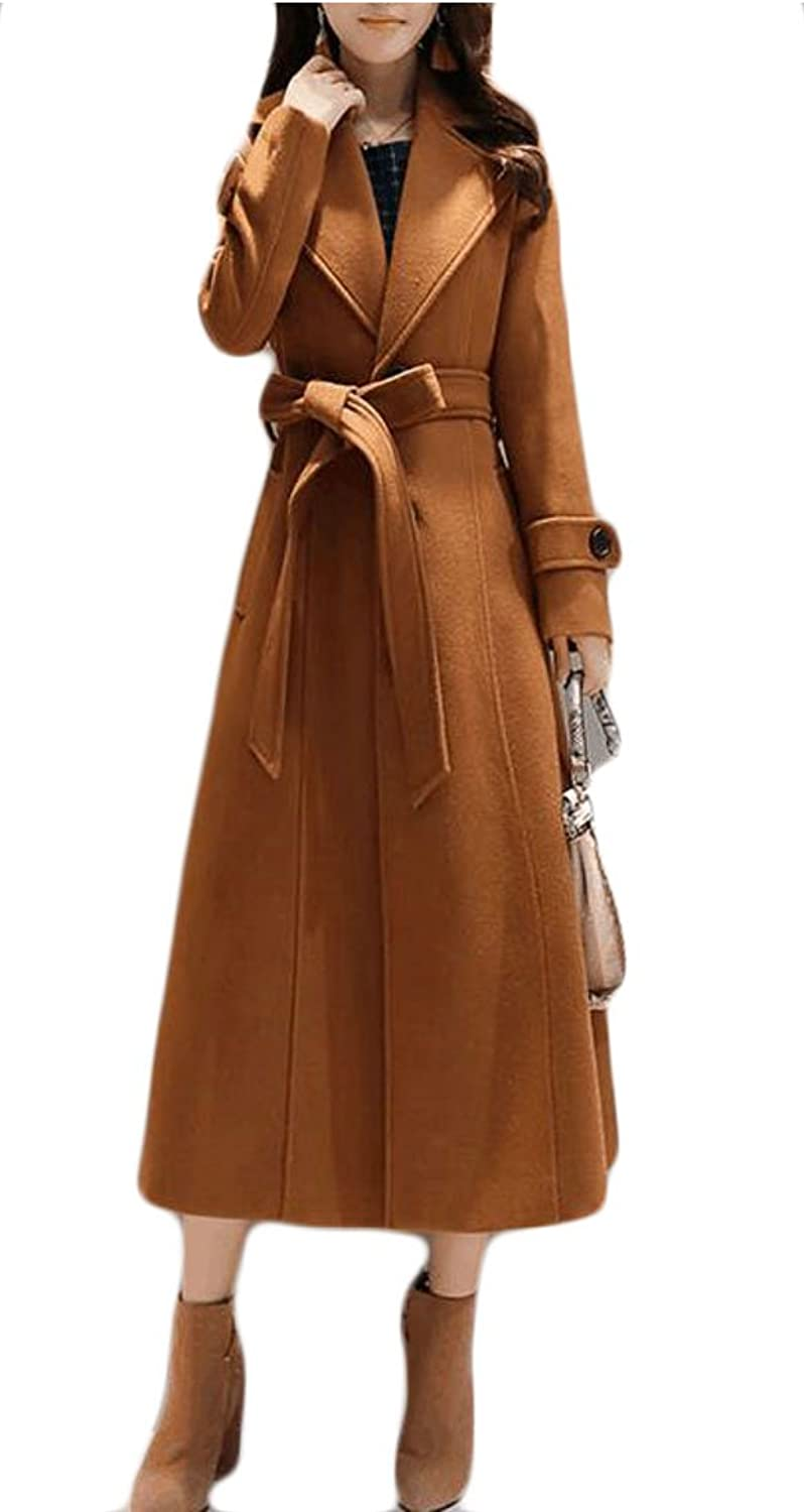 GAGA Women's Warm Slim Longsleeves overcoat Solid color Lapel Trench Coat With Belt