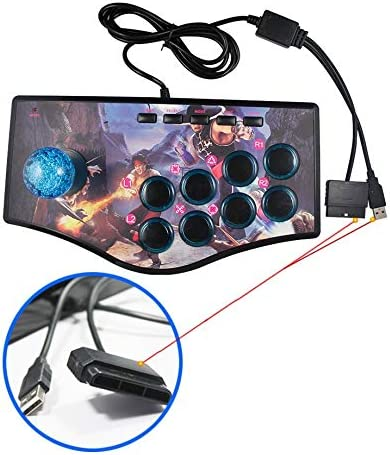 JINZHIYANG Arcade Joystick Fit For PC Fit For PS2 Fit For PS3 Fit For Android Smart TV Met 1,8 meter kabel en ingebouwde Vibrator Acht Richting Joystick (Color : Blue) Green