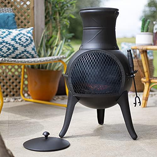 La Hacienda Steel Squat Black Effect Chiminea Patio Heater