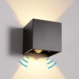 LANFU LED Aluminum Waterproof Wall Lamp, Waterproof Outdoor Light 6W 100-277V 3000K Adjustable Outdoor Wall Light Motion Sensor Outdoor/Indoor Warm Light 2LEDS (Black-6W, Outdoor-Induction Version)