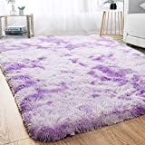 Modern Soft Shaggy Fur Area Rug for Bedroom Livingroom Decorative Indoor Floor Carpet, Non-slip Large Plush Fluffy Comfy Abstract Warm Furry Fur Rugs for Kids Dorm Nursery Accent Rugs 4x6 Feet, Purple