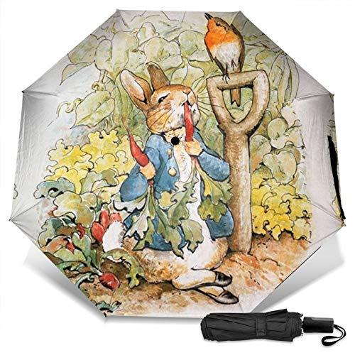 Pe-ter Rabbit Boys Girls Benjamin Bunny peluche de peluche The New Adventures plegable compacto paraguas plegable ligero parasol ultra grueso artículos de cumpleaños sol, hielo Pascua
