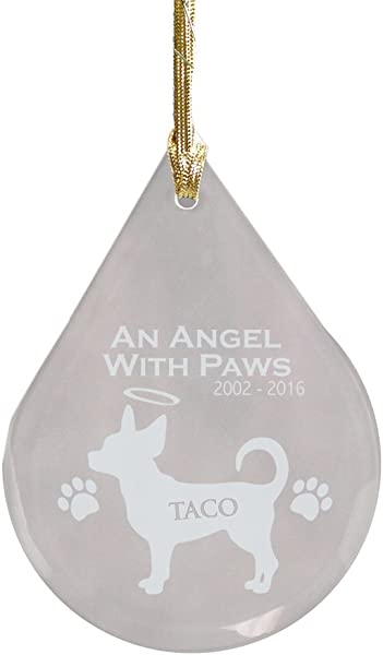 GiftsForYouNow Chihuahua Dog Memorial Tear Drop Personalized Ornament Glass