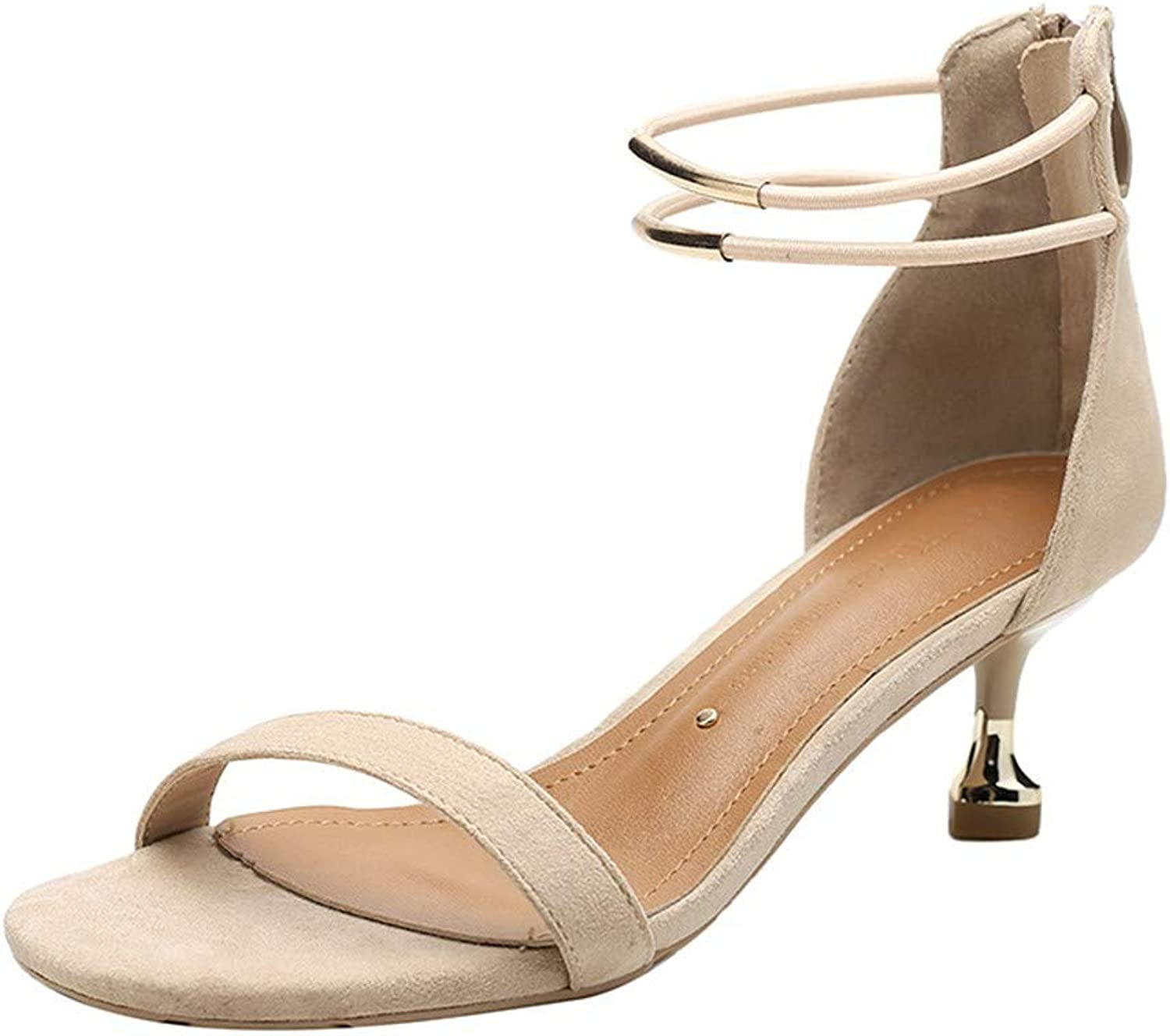 Top Shishang Apricot One-Button Buckle Stiletto Sandals,Womens Stiletto Party Evening High Heel Platforms Court shoes