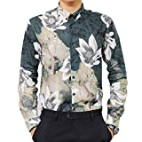 Camisas de Vestir para Hombre Camisa Estampada Funky de Manga Larga Tops Florales Elegantes Patrón único Slim-fit Retro Business Casual Top M