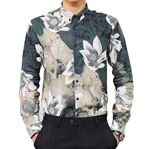 Camisa de Manga Larga para Hombre Camisa de Manga Larga con Estampado de Personalidad de Moda de Moda Camisa de Manga Larga Retro Delgada Informal XL