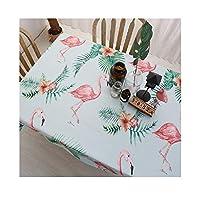 HOTARUYiZi テーブルクロス テーブルカバー 食卓カバー 飾り布 防塵装飾布 テーブルクロス 優雅 耐久 素朴 シンプル 優雅 長方形 家庭用 軽量 フラミンゴ INS テーブルカバー (Color : A, Size : 51.2*86.7in)