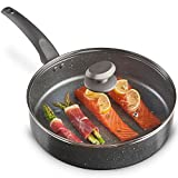 VonShef 28cm Marble Sauté Pan – Aluminium Cookware, Glass Lid With Steam Vent, Non-Stick Coating & Soft-Touch Handle – For Everyday Use