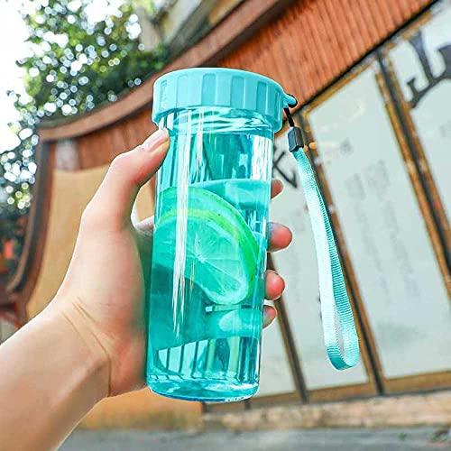 Botella de Agua Deportiva,Prueba de Fugas, Botella Agua Reutilizable para Excursionismo, Ciclismo, Running, Acampada, Gimnasio y Viajes -Lago azul_430ml