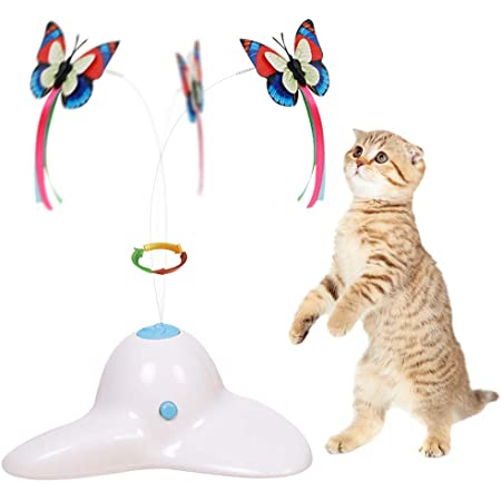 Flurff Cat Toys, Interactive Cat Toy Butterfly Funny Exercise Electric Flutter Rotating Kitten Toys, Cat Teaser with Replacement