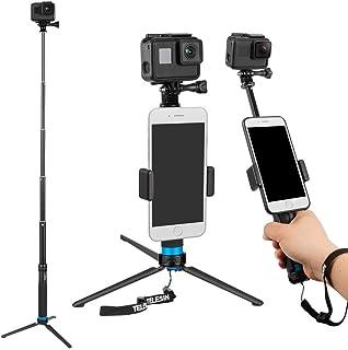 TELESIN 6 en 1 de aleación de aluminio Monopod selfie Stick Handheld extensible tamaño bolsillo monedero con Mini trípode y soporte de trípode y teléfono clip para Apple GoPro cámara – Negro