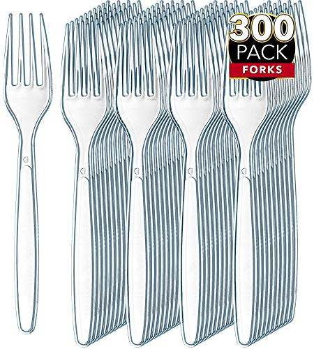 300 Clear Plastic Forks   Heavyweight Plastic Silverware Forks   Fancy Plastic Cutlery   Elegant Disposable Forks Pack   Bulk Disposable Flatware   Plastic Utensils Set   Disposable Silverware Cutlery