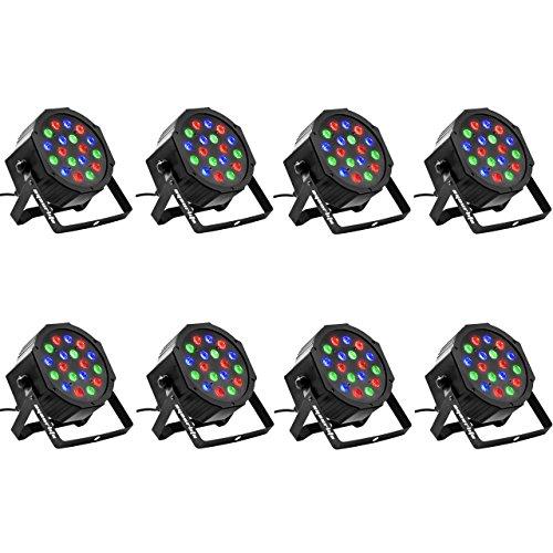 Eyourlife 8PCS 18 X 3W LED Stage Light DJ Par Lights 54W RGB Par 64 DMX512 Uplighting for Dj Stage Lighting Show Disco Party Light